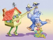 house holds lifted upside-down a banker from the pockets of the banker so many money falls allegory of asking a mortgage