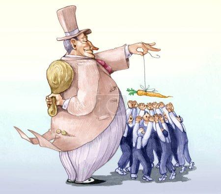 Photo pour Riche maître attire les travailleurs avec la carotte et il cache un grand bâton dessin animé politique dessin au crayon humour - image libre de droit