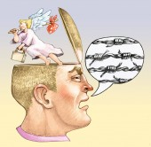 a masculine head in profile comic strip with boned thread from the head the angel of the conscience escapes allegory of racism and violence political cartoon