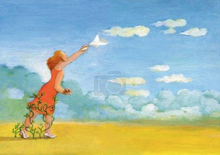 Photo pour Une femme agitant un mouchoir aux nuages qui volent dans l'illustration de ciel du concept de papier du regred et du mal du pays pour les choses passées - image libre de droit