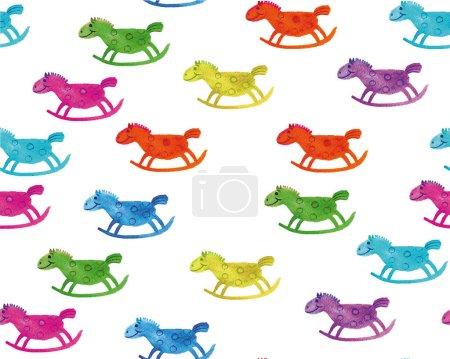 Photo for Rocking horses pattern watercolor illustration with handmade painting - Royalty Free Image