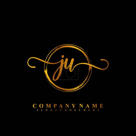 Illustration for J U JU Initial handwriting logo template vector - Royalty Free Image