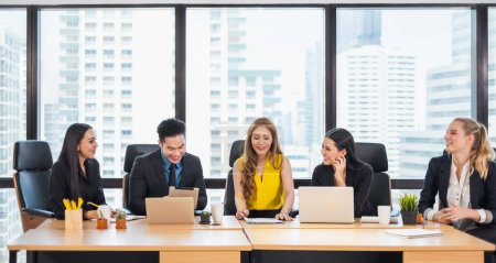 Photo for Group of Asian business people working and meeting/discussing at office - Royalty Free Image