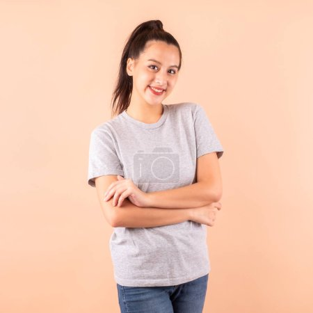Photo for Portrait happy Asian woman, cute girl smile over blank background with copy space - Royalty Free Image