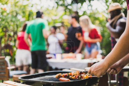 Photo for Group of diversity people having barbecue/barbeque party at home, cooking grilled meat/beef for lunch, happy friends party lifestyle concept - Royalty Free Image