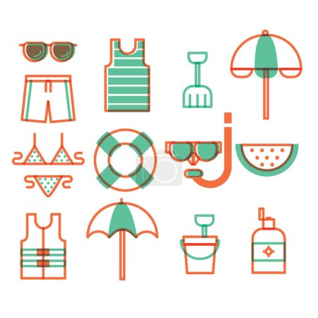 Illustration for Set of summer icons - Royalty Free Image