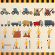 Collection of construction machinery and workers...