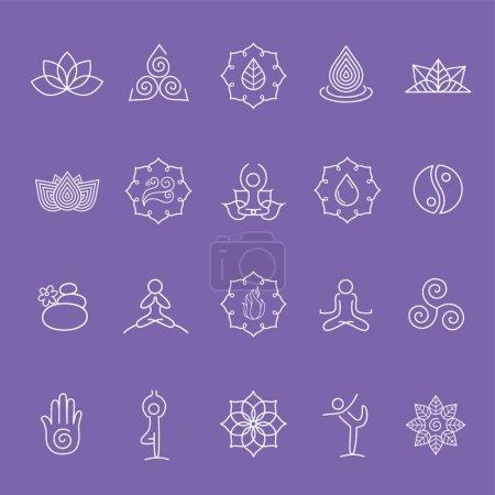 Assorted yoga symbol set