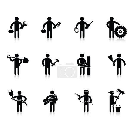 Collecte de diverses professions, illustration vectorielle de design