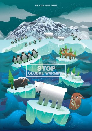 Global warming concept  flat icon, vector illustration