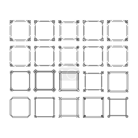 Set of vector frames with lines and place for your text.