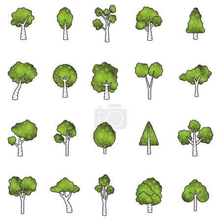tree icon, stylized vector illustration