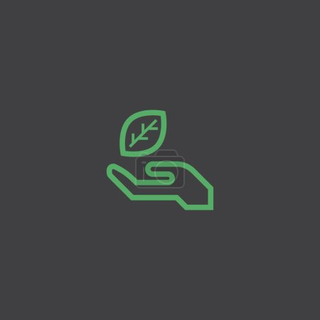 Leaf in hand  flat icon, vector illustration