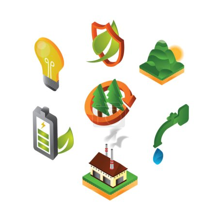 collection of eco friendly icons