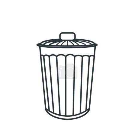 trash bin flat icon, vector illustration