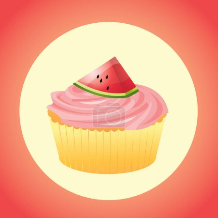 Illustration for Cupcake with cream and cherry jam - Royalty Free Image
