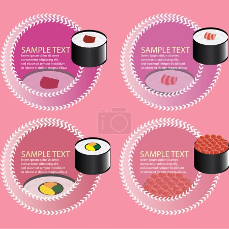 Illustration for Vector illustration of a set of sushi and paper elements - Royalty Free Image