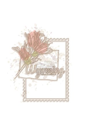Illustration for Vector illustration of vintage postcard with flowers - Royalty Free Image