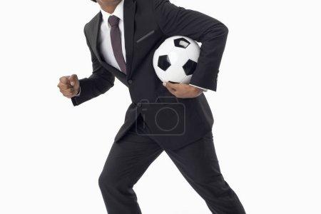Foto de Gerente de fútbol sosteniendo una pelota - Imagen libre de derechos