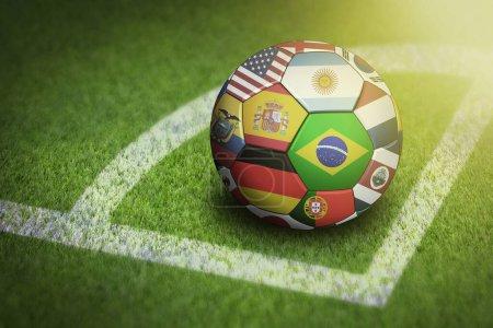 Photo pour Prendre le coin avec les drapeaux du monde ballon de football - image libre de droit