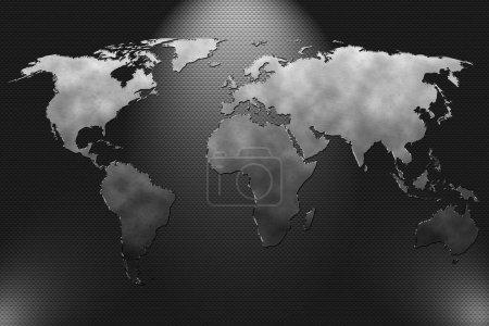 Photo pour Plaque métallique avec carte du monde et équipe de football - image libre de droit