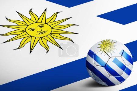 Photo pour Drapeau Uruguay avec ballon de football - image libre de droit