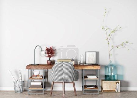 Photo for Mock up interior for wooden desk, home office Scandinavian design, 3D render - Royalty Free Image
