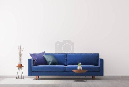 Photo pour Intérieur lumineux du salon dans une couleur bleu branché.Style moderne simple. Modèle de fond de mur vide. 3d rendu - image libre de droit