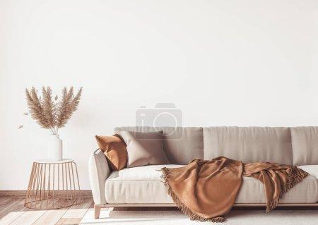 Photo pour Close up Design intérieur de l'appartement scandinave moderne, salon dans des couleurs neutres beige, maquette blanche murale vide. rendu 3D - image libre de droit