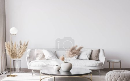 Photo for Stylish white modern living room interior, home decor - Royalty Free Image