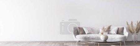 Photo pour Élégant salon moderne blanc intérieur, décoration intérieure - image libre de droit