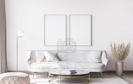 Photo pour Modèle de cadre dans le salon moderne blanc élégant intérieur, décor à la maison - image libre de droit