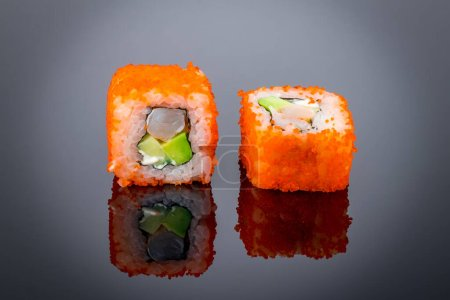 Photo for California roll with shrimp on black with reflection - Royalty Free Image