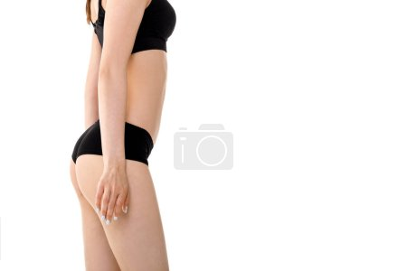 Photo for Perfect sports body of woman in black lingerie. Slim female shape - Royalty Free Image