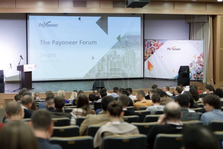 """Photo for Dnipro, Ukraine - October 17, 2018 """"The Payoneer Forum. Entrepreneurs and Freelancers."""" Business people in conference room listening to report - Royalty Free Image"""