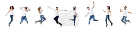 Photo for Collage of happy carefree millennials people jumping in air isolated on white background. Group of young smiling people fly - Royalty Free Image