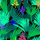 Abstract painting seamless pattern Free hand colorful background with jungle motif Hand drawn multi-color background with palm leaves and flowers