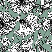 Repeatable background Vector seamless pattern wild plants herbs and flowers fol artistic botanical illustration in folk style hand drawn floral motif with outlined ornamental plants
