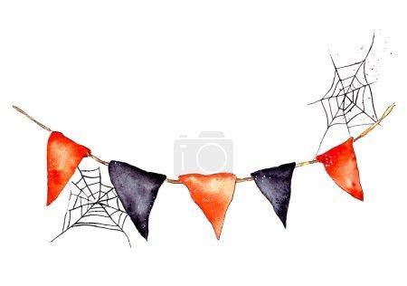 Photo pour Illustration à l'aquarelle dessinée à la main d'une guirlande de drapeaux noirs et orange. web sur la guirlande. Fête d'Halloween, décoration pour les vacances. Isolé sur fond blanc - image libre de droit