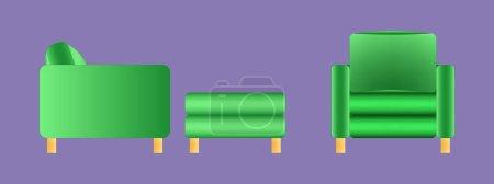 Photo pour Illustration.Un ensemble de meubles rembourrés modernes de couleur verte. Canapés et fauteuils. Isolé sur un fond lilas. - image libre de droit