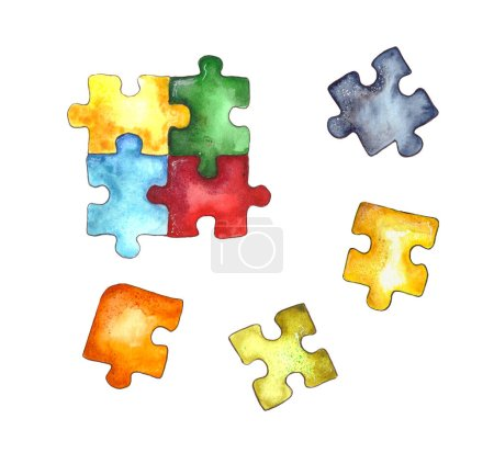 Watercolor illustration.children's puzzle paper puzzle, colorful puzzle pieces. Isolated on a white background.