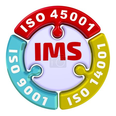 """IMS. ISO Integrated Management System. The check mark in the form of a puzzle. The inscription """"IMS. ISO 9001, ISO 14001, ISO 45001"""" on the puzzle in the shape of a circle. 3D Illustration. Isolated"""
