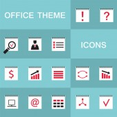 Set of 15 web icons for business office theme Vector illustration