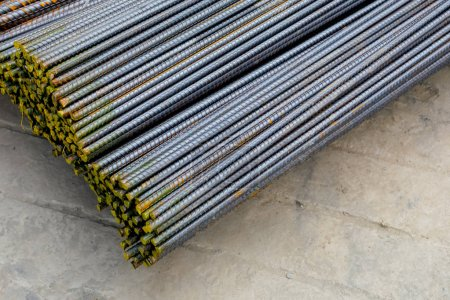 Steel Rebars for reinforced concrete. Close Up of ...