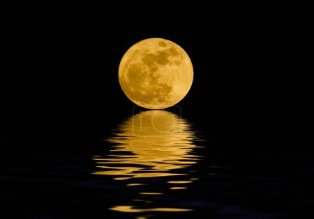 Photo for Full moon over night water - Royalty Free Image