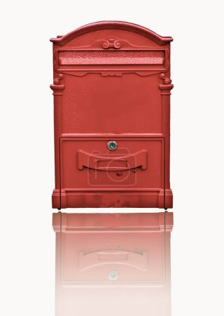 Photo for Red post box isolated on white background - Royalty Free Image