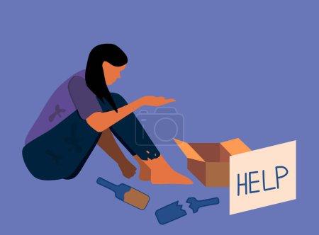 """Pauvre femme sans abri assise dans la rue.Mendiant dans des vêtements sales déchiré avec boîte en carton pour aumônes et un morceau de papier avec texte """"aide"""" .Alcoolisme, réticence au travail.Problèmes sociaux vecteur"""