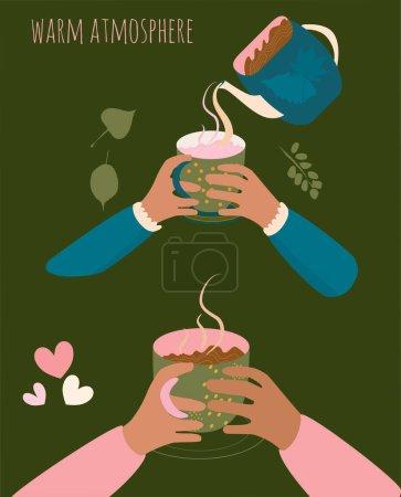 Deux paires de mains tenant des tasses avec une boisson chaude. Du lait, du thé, du cacao ou du café coulent de la bouilloire. Ambiance chaleureuse et ambiance chaleureuse vecteur plat illustration. Décoration de menu