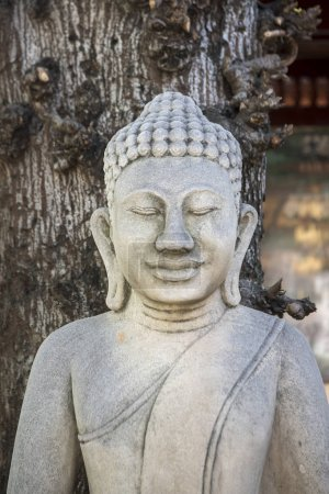 stone Buddha at Wat Ounalom at Tonle Sap River in city of Phnom Penh of Cambodia