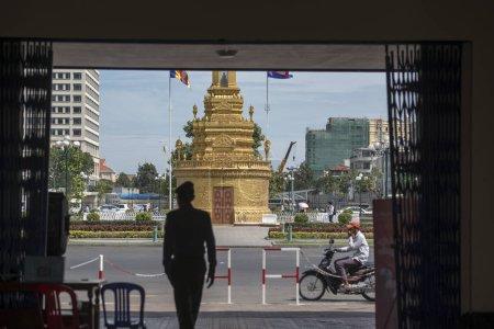Cambodia, Phnom Penh - December 16, 2017: former Buddha Stuupa near  Phnom Penh Railway Station